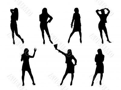 Black fashion sexy girls silhouettes,business