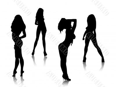 beautiful girls silhouettes, vector, sexy