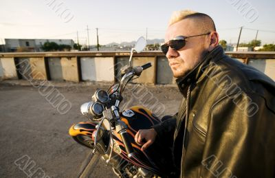 Motorcycle Punk with Leather Jacket