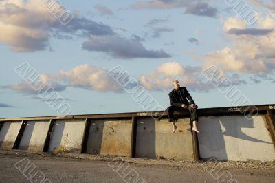 Punk Businessman on a Wall