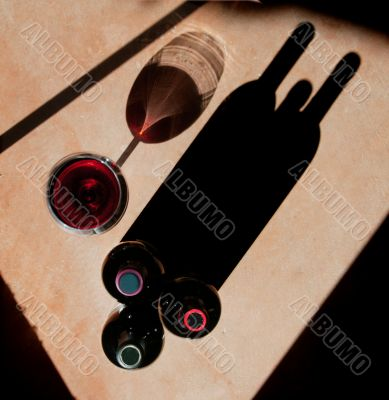 Wine Bottles and Wine Glass with Dramatic Shadow