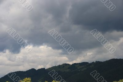 Rainy clouds in mountains