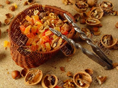 Dessert with dried fruits and nuts