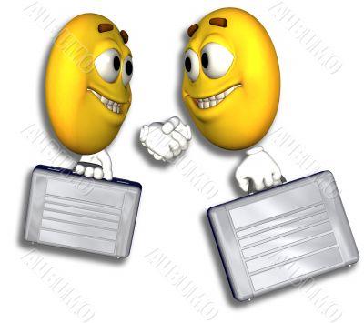 Smiley Business People Handshake & Path