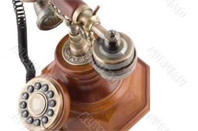 Close-up of retro-styled phone`s metallic handset
