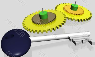 Parts of mechanism and key