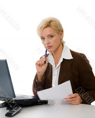 business woman works with the document