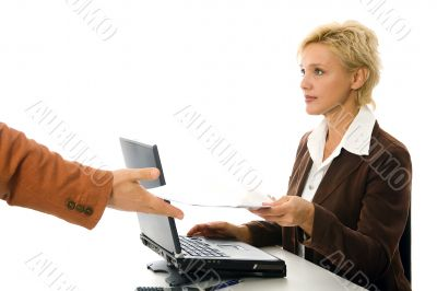 business woman works with the document, isolated on white