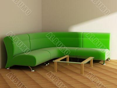 Interior in light tones sofa table