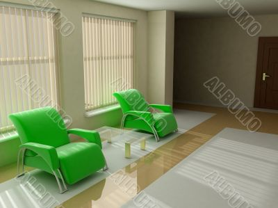 Interior in light tones sofa table window jalousie