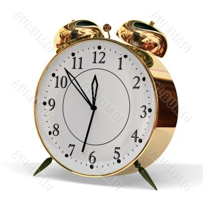 gold metallic alarm clock on grey background