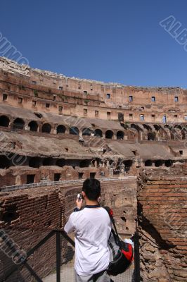 asian tourist at the colosseum