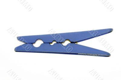 blue laundry pin on white background