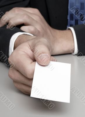 Presenting a blank business card