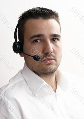 friendly telephone operator in an office