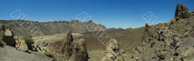 Panoramic view inside Teide volcano caldera