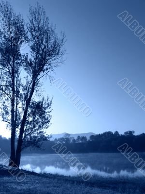 Blue morning by the lake