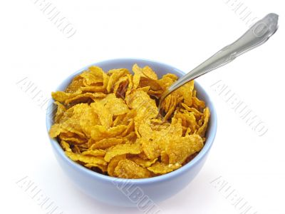 Bowl of cereal with spoon, clipping path included