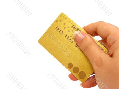Hand holding credit card, clipping path included
