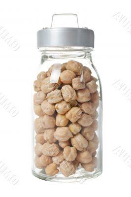 Glass jar of chickpeas