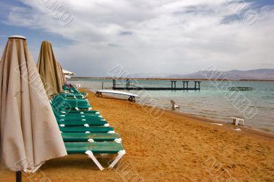 The cloudy sky above the Dead Sea