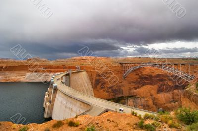 The bridge and dam.