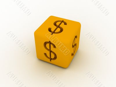 Cube with sign of dollar