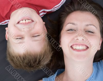 Mum and the son smile