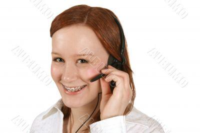 Customer service representative in headset