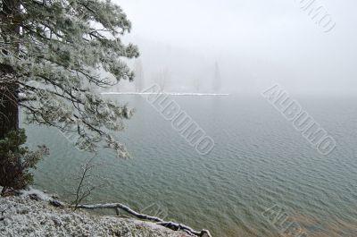 snowy lakeshore