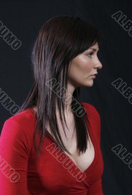 Elegant girl in red top