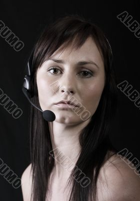 girl wearing headset