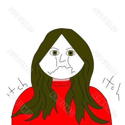 Unhappy Girl Female Illustration Cartoon
