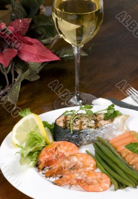 Salmon and Shrimp with wine