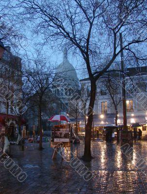 rainy evening on Monmartre in Paris