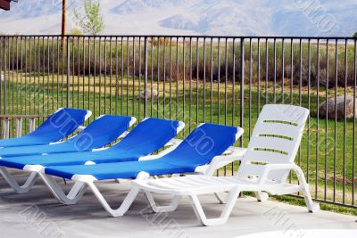 Relaxing poolside chairs