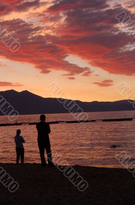 couple watching cloud patterns at sunset