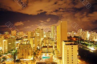 Waikiki Downtown at Night