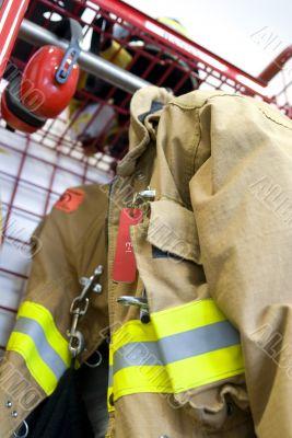 Worn fireman coat