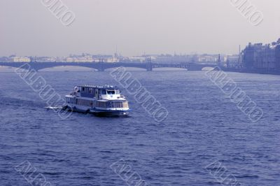 Boat across Neva river in St. Petersburg