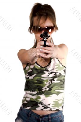 Girl is aiming at you