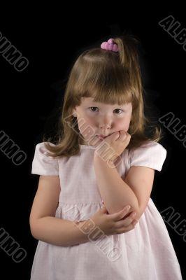 Upset thoughtful little girl