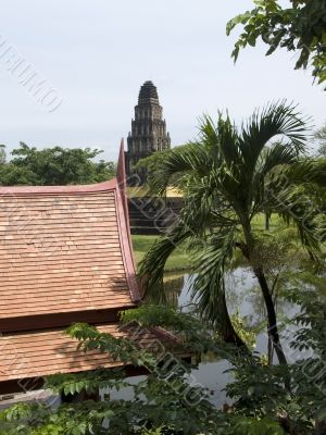 Garden in Thailand with classic buildings