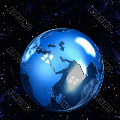 Blue Glass Earth Globe on Stars East