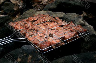 Meat roasted on open fire