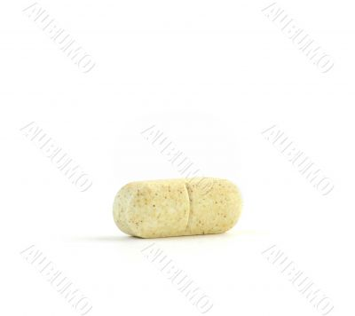 Vitamin C Tablet Against a Pure White Background