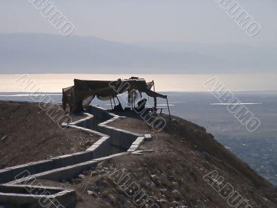 Israeli army outpost - israeli soldier with machine gun