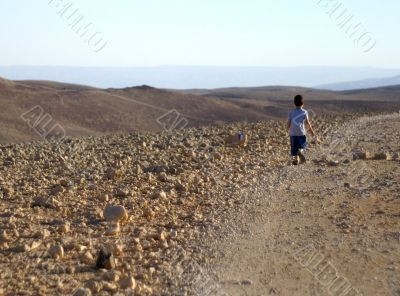 walking alone in desert