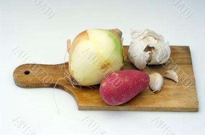 potato, garlic, onion