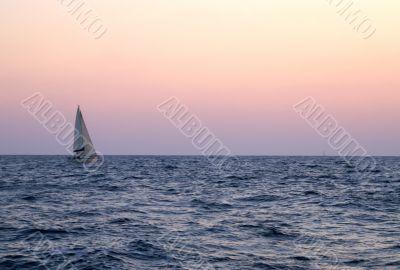 sunset on a yacht